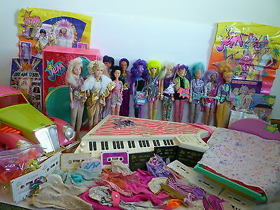Jem and the Holograms dolls vintage lot Hasbro stage speakers car waterbed
