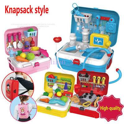 Kids Knapsack Suitcase Tool Doctor Pet care Pretend Role Play Toy Children Gifts