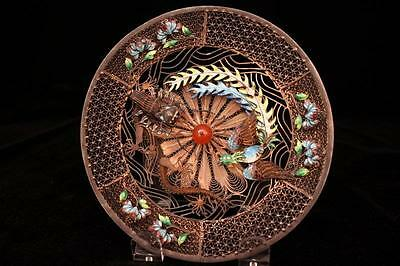 Delicate Chinese Enameled Silver Dish with a Pierced Ground.