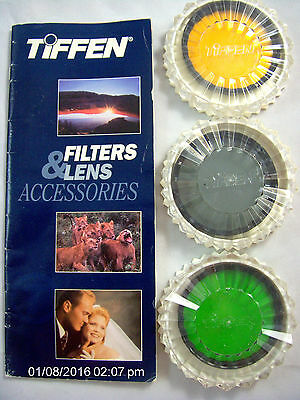 Lot of (3) TIFFEN Colored Lens Filters Green, Yellow, Cir. Polarizer 58mm +cases