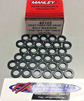 "Hardened 7/16"" All Chevy Ford Small Blk Head Bolt Washers Box Of 34 Manley 42102"