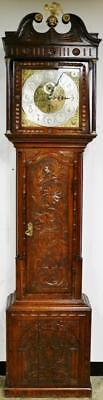Antique English Solid Carved Oak Musical 8/4 Bell Grandfather Longcase Clock