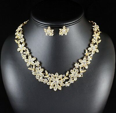 Jewelry Sets Pearl Clear Rhinestone Crystal Necklace Earrings Set Bridal Prom Wed Gold N1g Jewelry & Watches