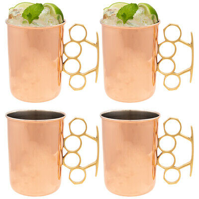 Copper Moscow Mule Mugs Set of 4 Brass Knuckle 20oz Old Dutch Nickel Plated