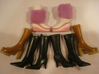Bratz Shoes~Mattel~4 Pairs Of Winter Boots & 2 Single White Ice Skates~Excellent