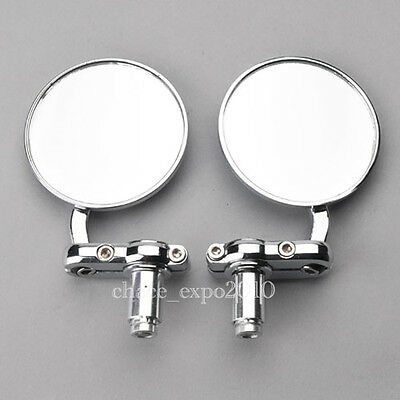 """Motorcycle 3""""Round Handle Bar End 7/8"""" Mirrors Cafe Racer Bobber Clubman Chrome"""