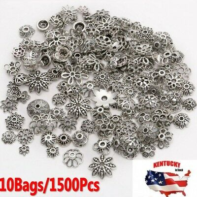 Wholesale Mixed 1500pcs Tibetan Silver Flower Bead Caps For Jewelry Making DIY