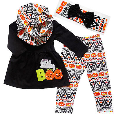 Boutique Clothing Girls Fall Halloween Boo Ghost Aztec Outfit Set 4pc with Scarf