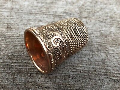 Antique Goldsmith Stern Gold Filled Double Anchor Size 7 Thimble Sewing