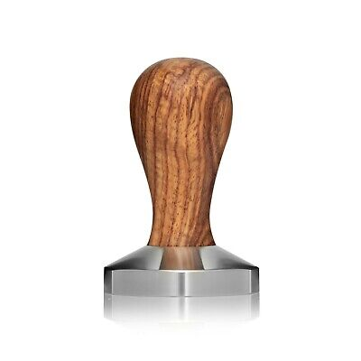 58mm Stainless Steel Coffee Tamper with a Turned & Oiled Natural Wood Handle.