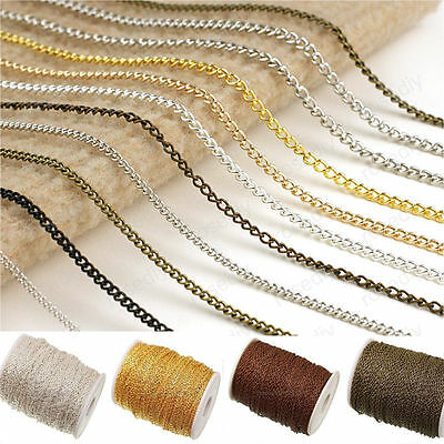 1/5/100M Silver/Gold Plated Cable Open Link Iron Metal Chain Jewelry Findings BF