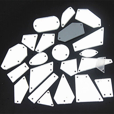 20Pcs Clear mirror sew on  Acrylic Crystal rhinestones flat back Sew-on ZZ999