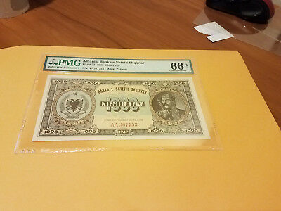 Albania 1000 Leke pmg 66 highest in pop only UNC listed