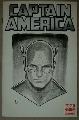 Captain America #1 Adi Granov Original Art Blank Sketch Cover Variant Signed