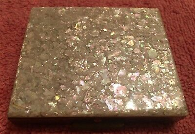 Vintage Mid Century Lucite Compact With Mother Of Pearl Design On Top 1950s