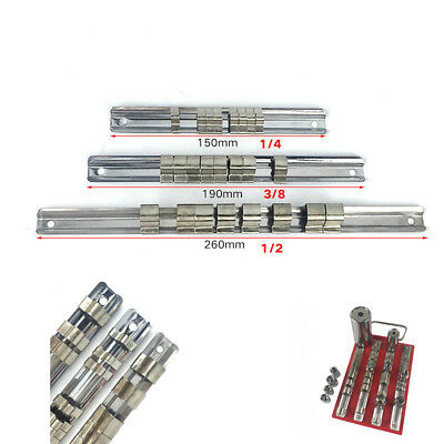 "1/4"" 3/8"" 1/2"" inch Drive With 8 Socket Clips Mountable Sliding Holder Rail Tool"