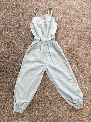 New Girls All In One Playsuit Denim Blue Summer Age 5-6 Years