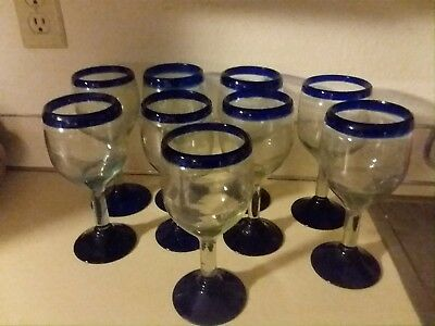 Vtg. HAND BLOWN MEXICAN COBALT BLUE AND CLEAR GLASS Wine CUPS 9 cups