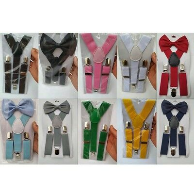 Baby Kids Adjustable Solid Suspender and Bow Tie Elastic Y-back Set Child Gift