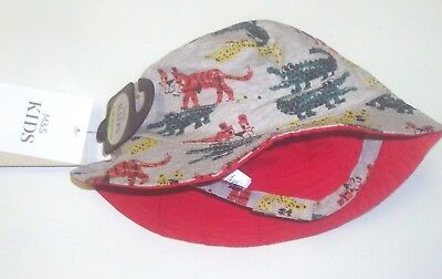 New Baby Boy's Sun Hat 6-18 Months Marks & Spencer Upf40+ Grey Red Reversible