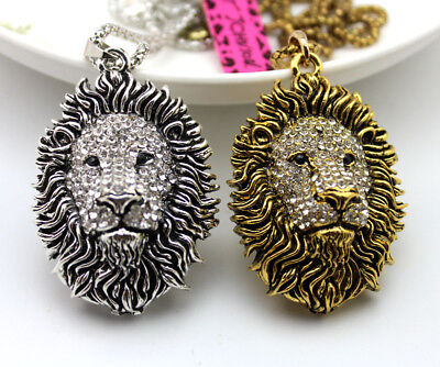 Vintage Style Antique Bronze/Silver Crystal African Lion Head Pendant Necklace