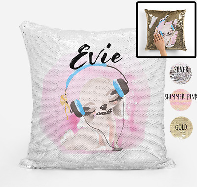 Personalised Puppy Dog Magic Sequin Pillow Cushion Cover, Gold, Silver, Pink