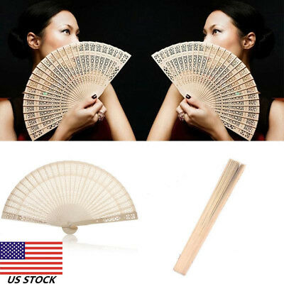 Chinese Folding Hand Fan Wooden Wedding Party Flower Pattern Vintage Gift US