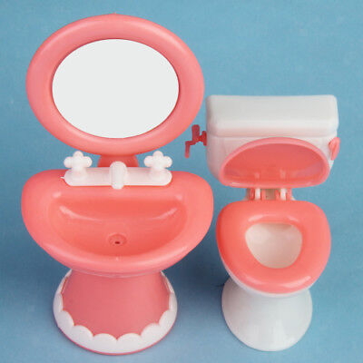 Dollhouse Furniture Bathroom Set Toilet and Sink for Barbie