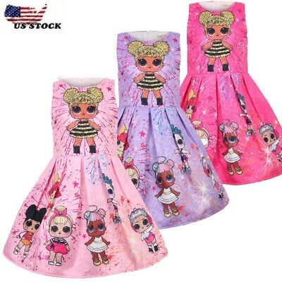 New Girls Kids Kawaii LOL Surprise Doll Party Holiday Birthday Dress   L8