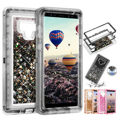 For Samsung Galaxy Note 9 S8 Plus + Heavy Duty Quicksand Hybrid Bling Case Cover