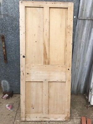 "32 3/4""x75 1/2"" Reclaimed Old Victorian 4 Panel Stripped Pine Door"