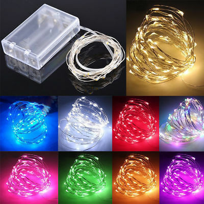 2M 20LED Battery Operated Micro Rice Silver Wire Fairy String Lights Party Decor