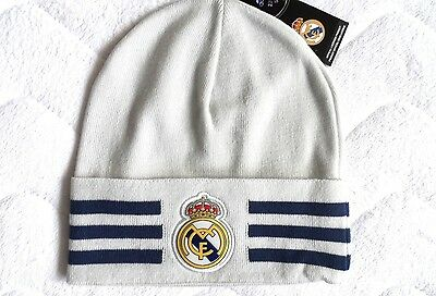 LARGE REAL MADRID Adidas Crystal White Beanie Toque Hat Football Soccer Tags c9c3d180094