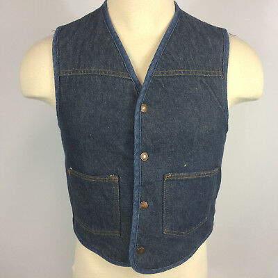 Vintage 70s 80s Denim Jean Sherpa Shearling Carhartt Vest Coat Jacket Work Small
