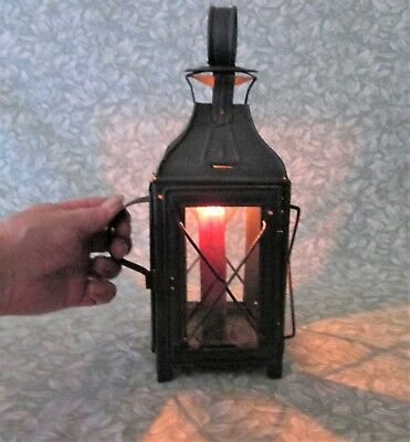 Authentic Antique Restored French Tin Metal Candle Lantern w Handle Stand/ Hang