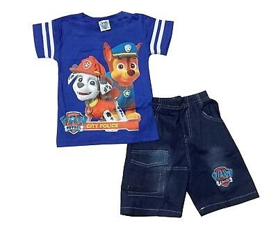 NEW Summer 100% Cotton Outfit Top and Denim Shorts Set - Paw Patrol Boy Size 1-5