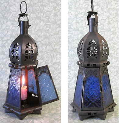Authentic Antique Restored Punched Tin Candle Lantern Blue Glass Stand/ Hang