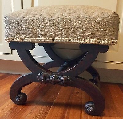 Antique American Boston Empire Mahogany Wood X Base Stool Bench 19th c. Federal