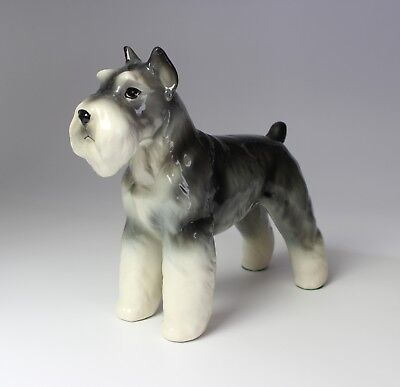 Porcelain Schnauzer Salt and Pepper Crop-Eared Ceramic Dog Figurine NEW Japan