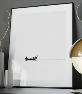 Lonely Fishermen Inspirational Art Poster Quote Print Black & White Office Decor