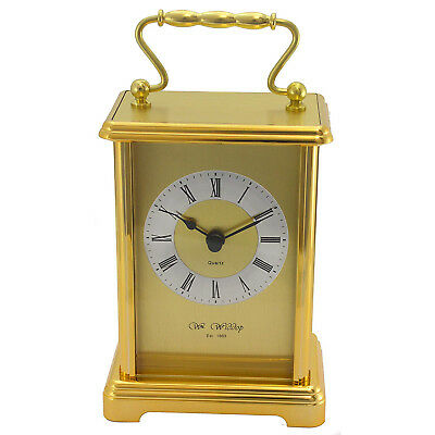 Wm Widdop Gold Colour Two Tone Gilt Carriage Clock