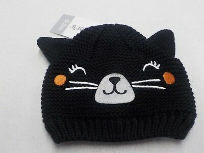 cfdc6ea93 Baby Girl 0-3 Month Carter's Halloween Knit Cat Face Beanie Hat Black New #