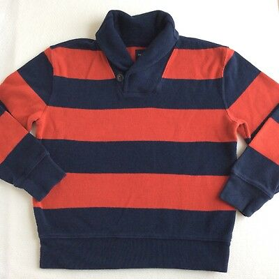 Boys Gap Kids Sz 8 Navy Red Stripe Sweater Awesome! Holiday shawl collar