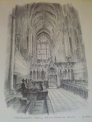 Original Pencil Sketch for Judges Postcards 'Westminster Abbey' Nice!