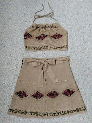 Unique Embroidered Halter Top & Wrap around Skirt Outfit Womens 11 12  Ladies