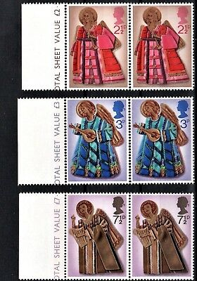 1972 - GB- SG913-915 -  Christmas Set (3)  in  Marginal pairs.           (J307A)