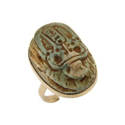 Estate Jade Egyptian Scarab Beetle 18k Yellow Gold Ring
