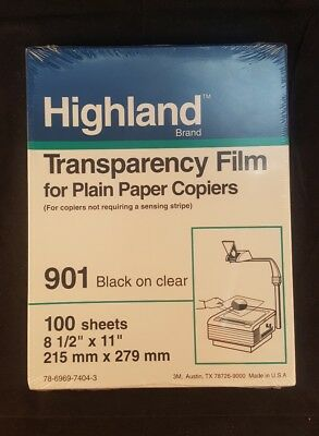 brand new highland transparency film for plain paper copiers 901 black on clear
