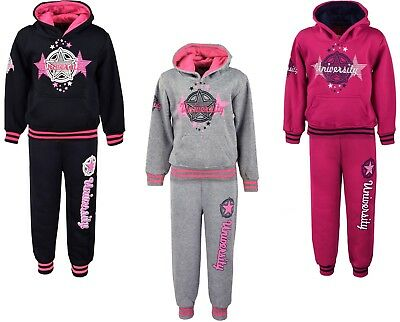 Girls Tracksuits Jogging Suits Hoodie Top & Joggers Kids Clothes Ages 4-14 Years