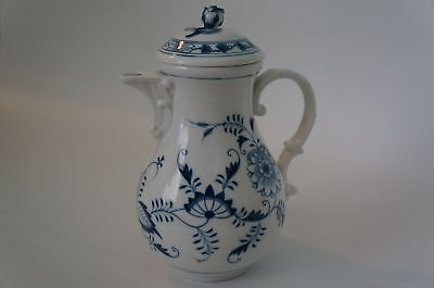 Meissen Teapot or Coffee Pot Blue Onion Pattern, Blue floral on White, Hand pain